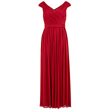 Buy Gina Bacconi Long Mesh Dress With Pleated Bodice, Wine Online at johnlewis.com