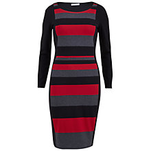 Buy Gina Bacconi Engineered Stripe Round Neck Dress, Red/Black Online at johnlewis.com