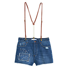 Buy Mango High Waist Suspender Denim Shorts, Open Blue Online at johnlewis.com