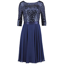 Buy Gina Bacconi Chiffon Dress With Sequin Bodice, Navy Online at johnlewis.com