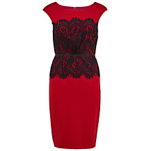 Buy Gina Bacconi Soft Ponti And Lace Dress, Red Online at johnlewis.com
