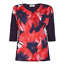 Buy Winsmoor Oversized Flower Print Jersey Top, Navy/Red Online at johnlewis.com