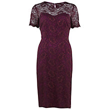 Buy Gina Bacconi Corded Lace Dress, Wine Online at johnlewis.com