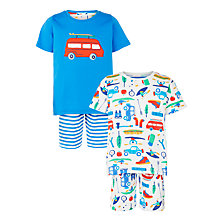 Buy John Lewis Boys' Trekking Print Shortie Pyjamas, Pack of 2, White/Blue Online at johnlewis.com