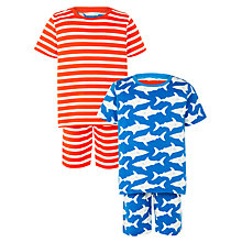 Buy John Lewis Children's Sharp and Stripe Pyjamas, Pack of 2, Blue/Red Online at johnlewis.com