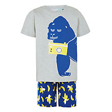 Buy John Lewis Boys' Gorilla and Banana Short Pyjama Set, Grey/Blue Online at johnlewis.com