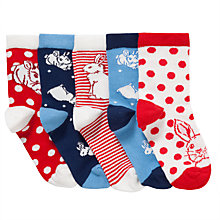 Buy John Lewis Girl Bunny Socks, Pack of 5, Multi Online at johnlewis.com