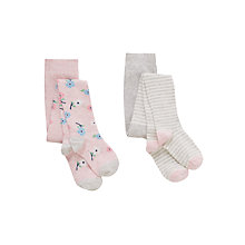 Buy John Lewis Girl Floral and Strip Tights, Pack of 2, Pink/Grey Online at johnlewis.com