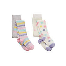 Buy John Lewis Girl Stripe and Spot Tights, Pack of 2, Grey/White Online at johnlewis.com