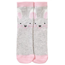 Buy John Lewis Girl Bunny Socks with Pom Poms, Grey Online at johnlewis.com