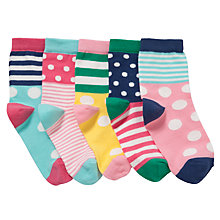 Buy John Lewis Girl Bold Spot Socks, Pack of 5, Multi Online at johnlewis.com