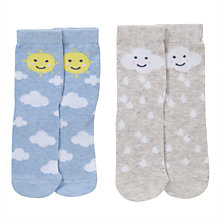 Buy John Lewis Girl Weather Socks, Pack of 2, Blue/Grey Online at johnlewis.com