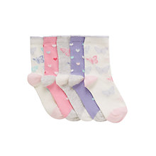 Buy John Lewis Girl Butterfly Heart Socks, Pack of 5, Multi Online at johnlewis.com