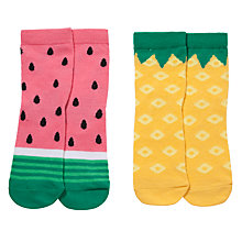 Buy John Lewis Girl Fruit Socks, Pack of 2, Multi Online at johnlewis.com