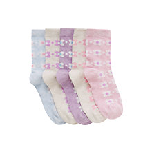 Buy John Lewis Girl Bold Floral Socks, Pack of 5, Multi Online at johnlewis.com
