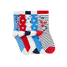 Buy John Lewis Girl Floral Print Socks, Pack of 5, Multi Online at johnlewis.com