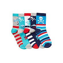 Buy John Lewis Boy Pirate Socks, Pack of 5, Multi Online at johnlewis.com