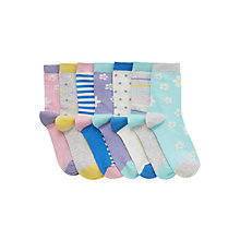 Buy John Lewis Girl Spot Floral Stripe Socks, Pack of 7, Multi Online at johnlewis.com
