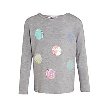 Buy John Lewis Girls' Sequin Spot Long Sleeve T-Shirt, Grey Online at johnlewis.com