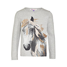Buy John Lewis Girls' Metallic Horse Print T-Shirt, Grey Online at johnlewis.com