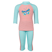 Buy John Lewis Girls' Butterfly SunPro Swimsuit, Pink/Blue Online at johnlewis.com