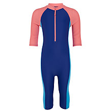 Buy John Lewis Girls' Nautical SunPro All In One Swimsuit, Blue/Pink Online at johnlewis.com