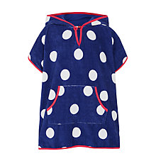 Buy John Lewis Girls' Nautical Spot Towel Poncho, Blue Online at johnlewis.com