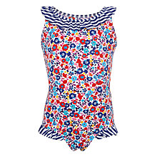 Buy John Lewis Girls' Floral Ruffle Swimming Costume, Multi Online at johnlewis.com