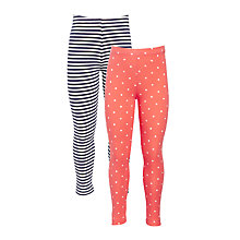 Buy John Lewis Girls' Spot Stripe Leggings, Pack of 2 Online at johnlewis.com