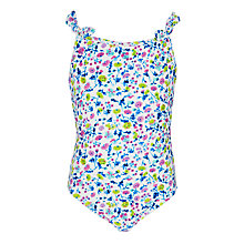 Buy John Lewis Girls Soft Floral Swimsuit, Blue Online at johnlewis.com