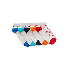 Buy John Lewis Boys' Trainer Liner Star Socks, Pack of 5, Multi/White Online at johnlewis.com