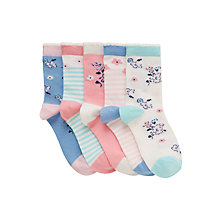 Buy John Lewis Girl Vintage Floral Print socks, Pack of 5, Multi Online at johnlewis.com