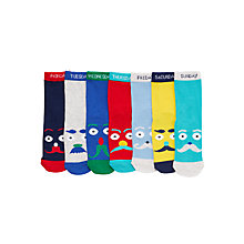 Buy John Lewis Boy Days of the Week Moustache Socks, Pack of 7, Multi Online at johnlewis.com