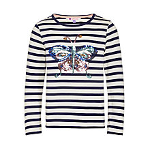 Buy John Lewis Girls' Butterfly Sequin Stripe T-Shirt, Navy/White Online at johnlewis.com