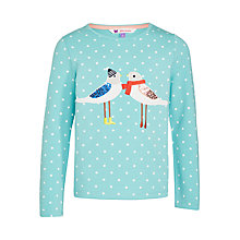 Buy John Lewis Girls' Kissing Birds Spot Print T-Shirt, Aqua Online at johnlewis.com