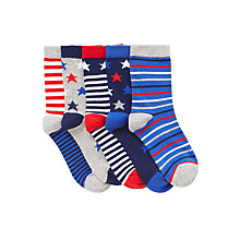 Buy John Lewis Nautical Stars and Stripes Socks, Pack of 5, Blue/Red Online at johnlewis.com
