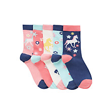 Buy John Lewis Girl Horse Floral Print Socks, Pack of 5, Multi Online at johnlewis.com