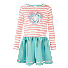 Buy John Lewis Girls' Heart Applique Jersey Dress, Pink/Blue Online at johnlewis.com