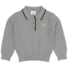 Buy No Added Sugar Baby's Textured Knitted Polo Top, Grey Online at johnlewis.com