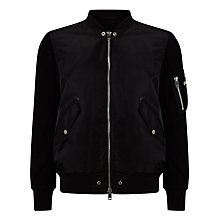 Buy Diesel Kitten Mix Leather Detail Jacket, Black Online at johnlewis.com