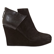 Buy Mint Velvet Nathalie Wedge Heel Ankle Boots, Black Suede Online at johnlewis.com