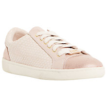Buy Dune Edgeware Mixed Material Round Toe Trainer, Light Pink Online at johnlewis.com