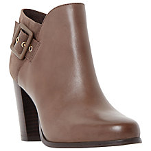 Buy Dune Oaklee Leather Side Buckle Block Heel Ankle Boot, Taupe Online at johnlewis.com