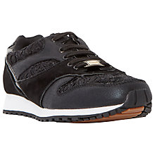 Buy Dune Edmonds Flat Lace Up Trainers, Black Online at johnlewis.com