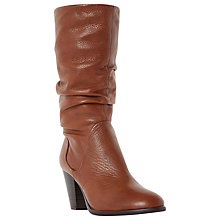 Buy Dune Rossy Block Heeled Slouched Calf Boots, Tan Leather Online at johnlewis.com