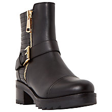 Buy Dune Poloma Shark Sole Quilted Biker Boot, Black Leather Online at johnlewis.com