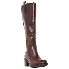 Buy Dune Tyne Leather Back Zip Tab Detail Knee High Boot, Dark Brown Online at johnlewis.com