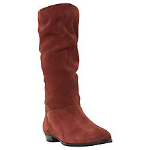 Buy Dune Relissa Suede Slouch Calf Boot, Rust Online at johnlewis.com