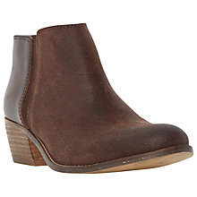 Buy Dune Penelope Mixed Material Low Heel Ankle Boot, Brown Suede Online at johnlewis.com