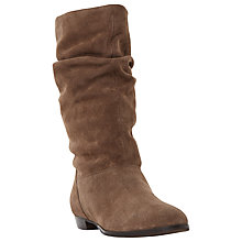 Buy Dune Relissa Suede Slouch Calf Boot, Taupe Online at johnlewis.com